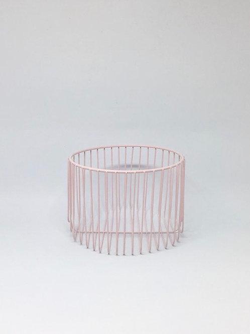 Cesto metal redondo rosa