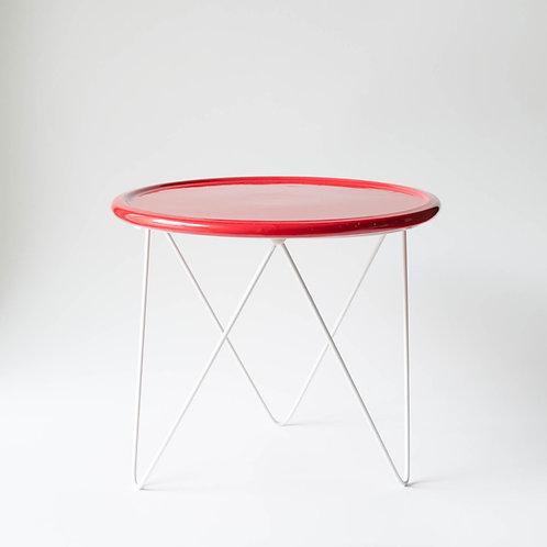 Prato Disco vermelho suporte alto branco