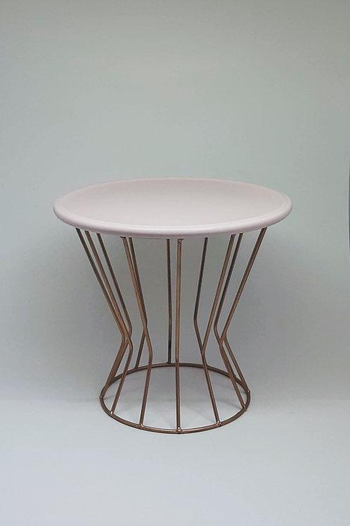 Suporte trapézio cobre - Prato disco rosa claro