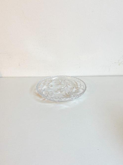 Bandeja cristal redonda flores