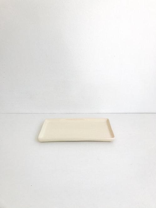 Bandeja retangular cerâmica amarelo