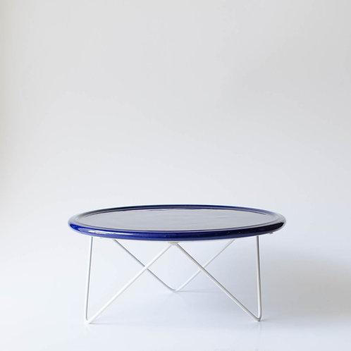 Prato Disco azul marinho suporte baixo branco