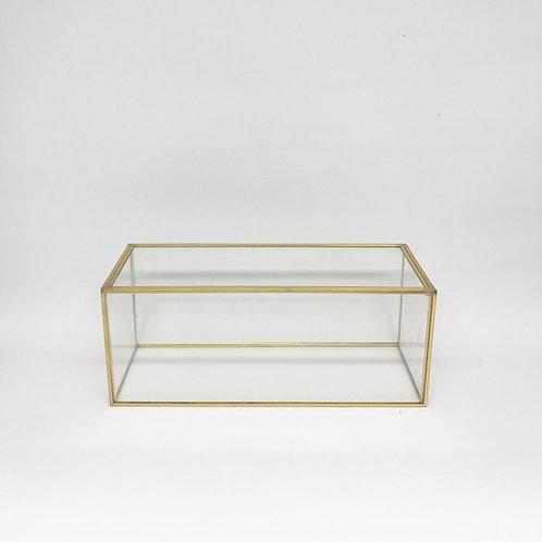 Caixa vidro e dourado P