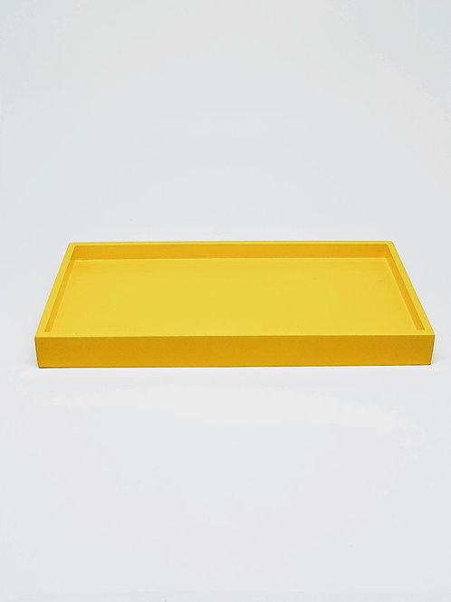 Bandeja retangular laqueada amarela