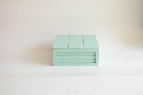 Caixa madeira Geta P verde agua