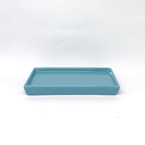 Bandeja retangular azul médio