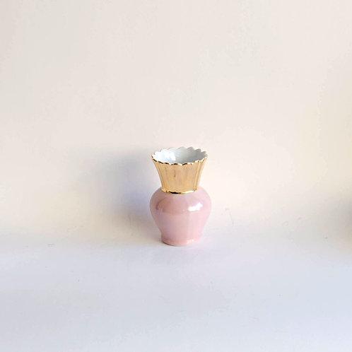 Vaso Coroa rosa e dourado