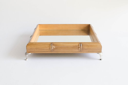 Bandeja quadrada Bambu com pé prata