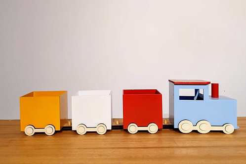 Trem vagão madeira colorido