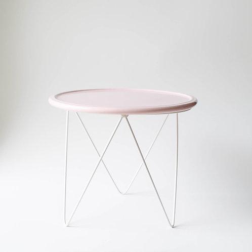 Prato Disco rosa suporte alto branco