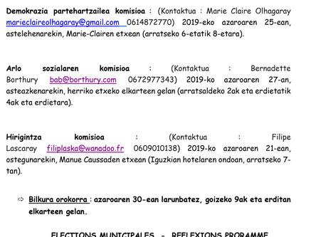 HERRIKO BOZAK - HAUTESKUNDE EGITASMO //ELECTIONS MUNICIPALES - REFLEXIONS PRORAMME