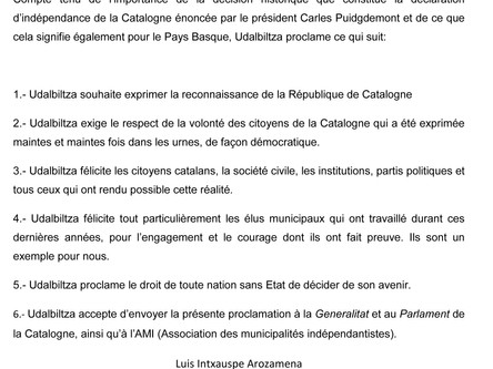 Proclamation institutionnelle d'Udalbiltza relative à la déclaration d'indépendance de la Ca