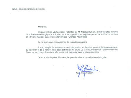Réponse de Nicolas Hulot