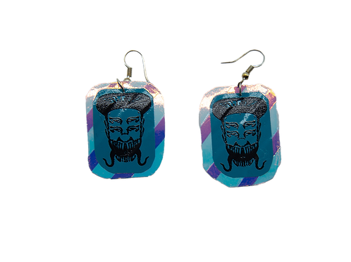 Holographic Blue and Purple Skelz Earrings