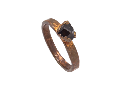 Copper Ring with Andradite Garnet