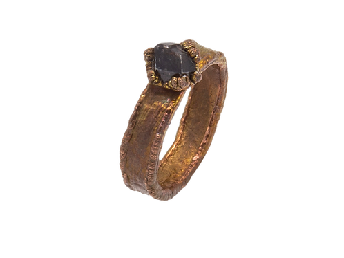 Copper Ring with Andradite Garnets