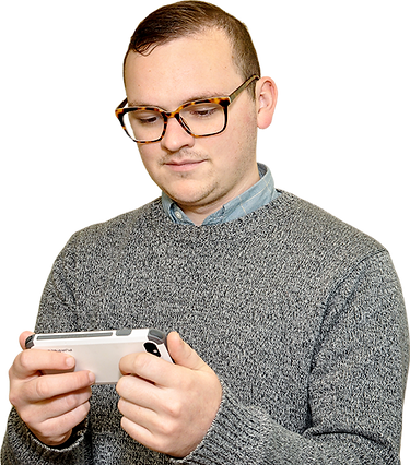 Person looking at cellular phone