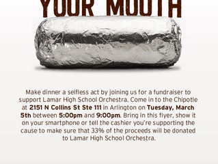 Chipotle Fundraiser Tonight! 5PM to 9PM (N. Collins)