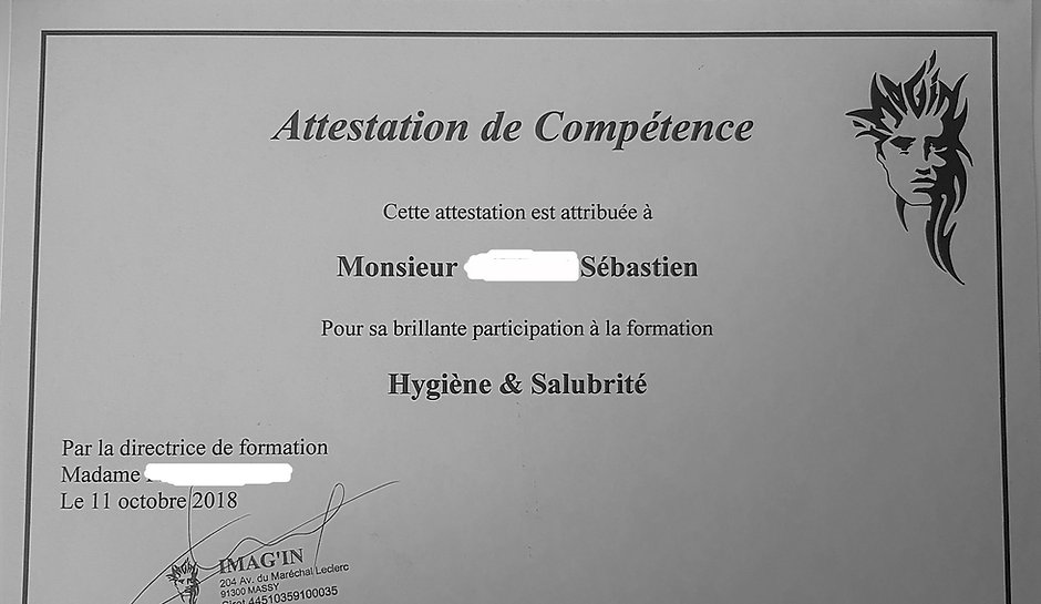attestation de compétence