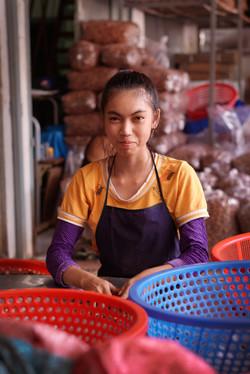 Pecan sorting factory worker