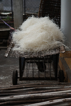 Drying rice noodles.