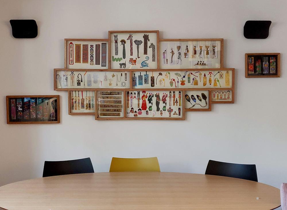 מסגרות מעץ ממוחזר לתצוגת אוסף סימניות