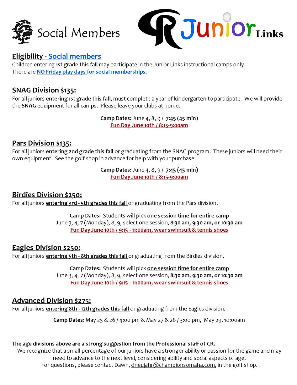 2021 Junior Links page 3 Social Members.