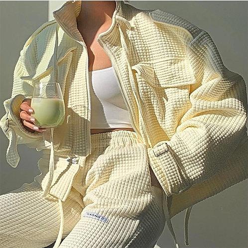 Women Long Sleeve Zipper Cardigan Pant