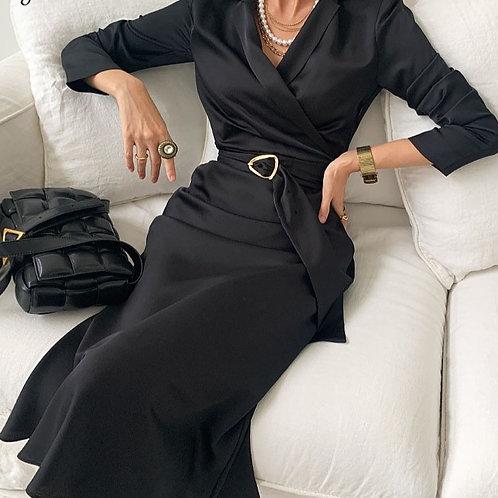 Glossy Suit Dresses Office Lady Elegant