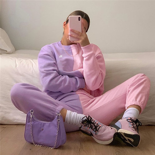 Patchwork Pink Casual Sweatpants