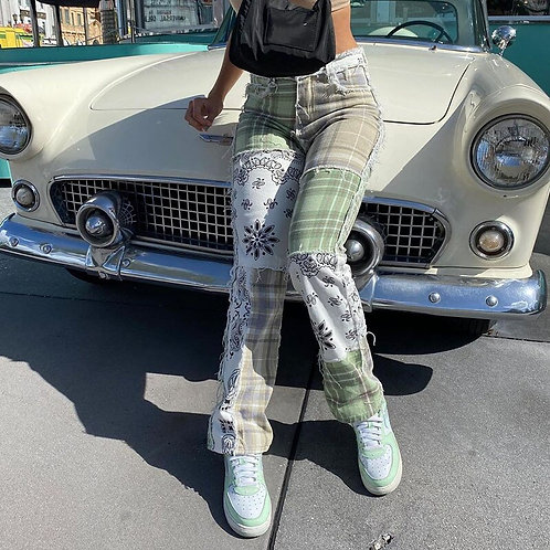 Patchwork Vintage Checkered Jeans