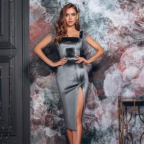 InstaHot Elegant Ostrich Feather Velvet  Dress