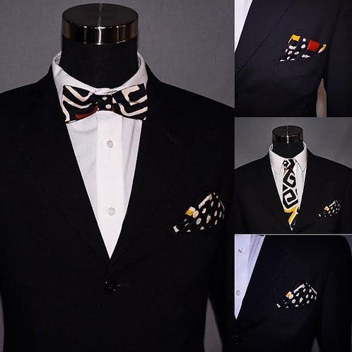 African Bowtie....Ankara Bowtie.....Wooden fabric Tie.....Bow tie.....Pocket Squ