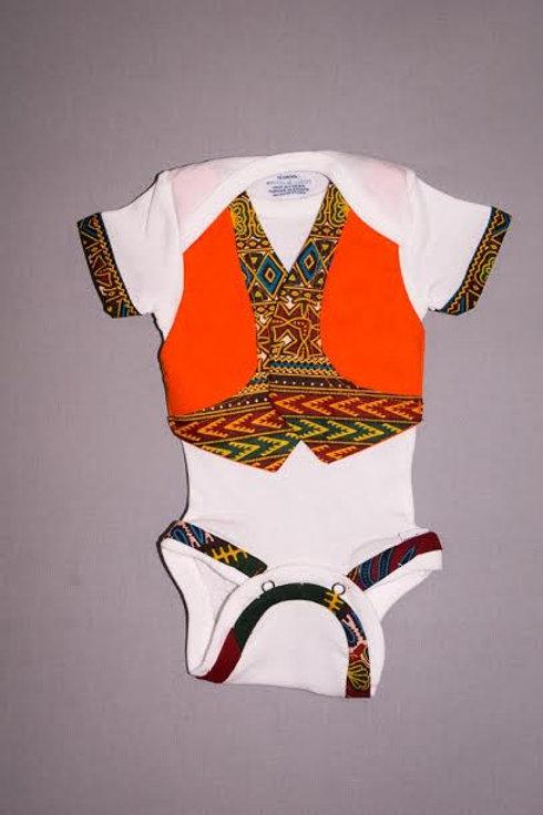 Dashiki Baby Onesie Orange