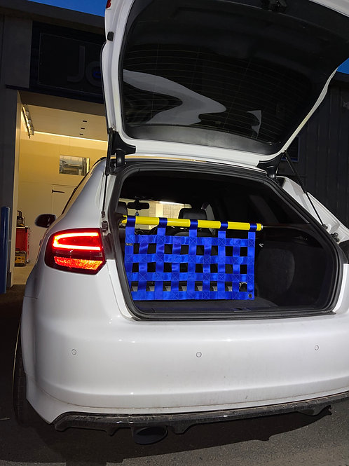 Audi S3 8P cosmetic strut bar with clubsport cargo net.
