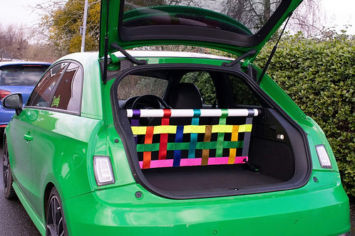 Audi S1 cosmetic strut bar with clubsport cargo net.