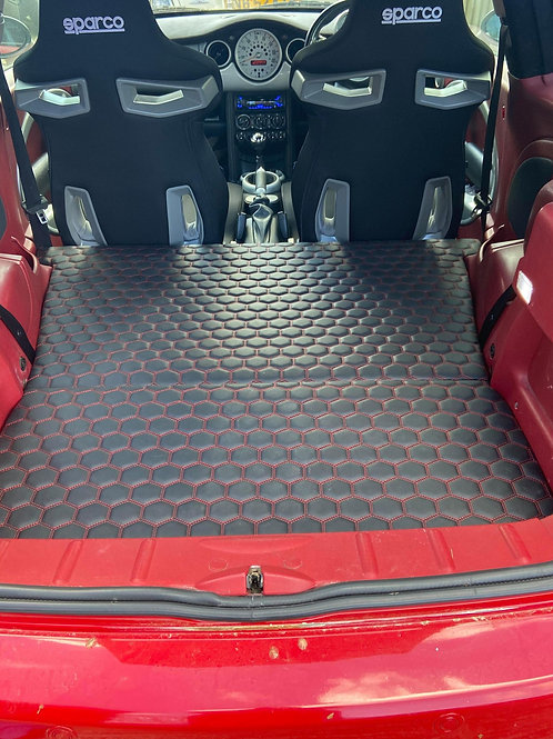 Quilted leather hexagon stitch