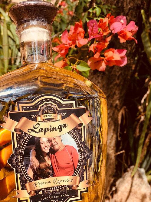Cachaça Lapinga Personalizada com foto Ouro Premium 750ml
