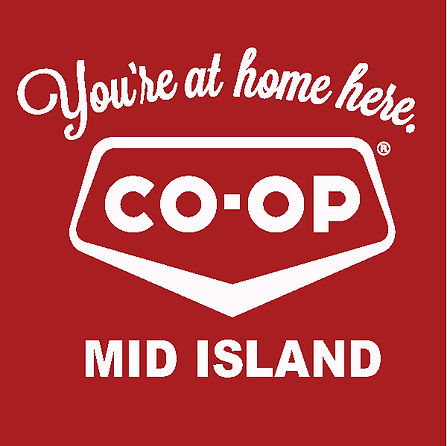 Mid Island Co-op White Logo Red Backgrou