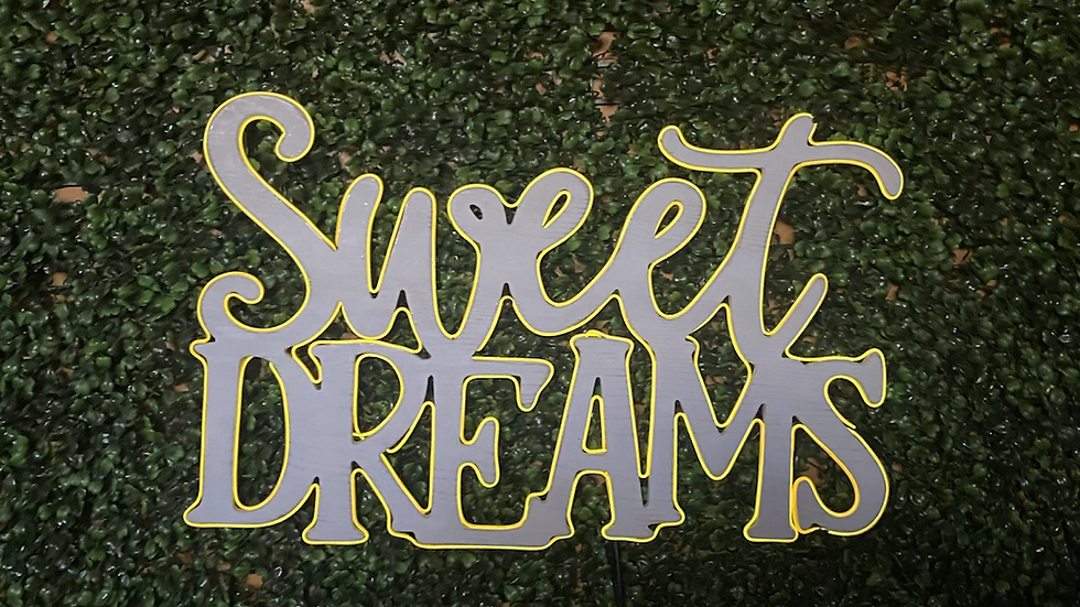 Sweet Dreams yellow and white wood sign