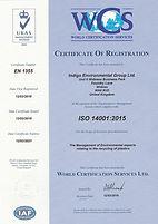 Indigo Environmental Carriers Certificate