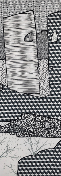 N&B, 2019, technique mixte sur toile 90x90 cm