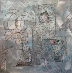 Hiver _ Printemps, 2018, technique mixte sur toile 150x150 cm