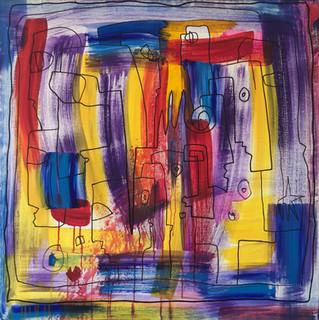 Calomnies, 2012, technique mixte sur toile 90x90 cm