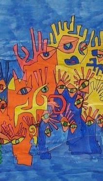 gens1, 2001, technique mixte sur affiche déchirée