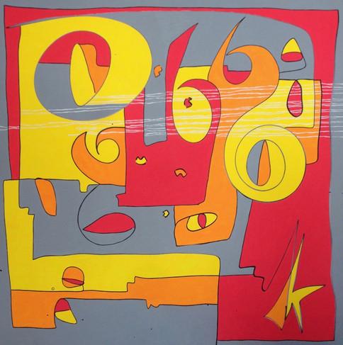 Traces, 2016, technique mixte sur toile 90x90 cm