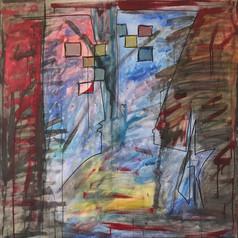 Guerre, 2014, technique mixte sur toile 90x90 cm