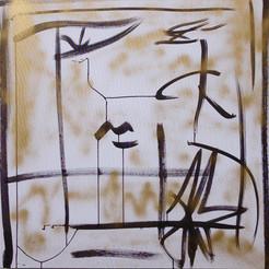 Calligraphie1, 2014,  technique mixte sur toile 90x90 cm