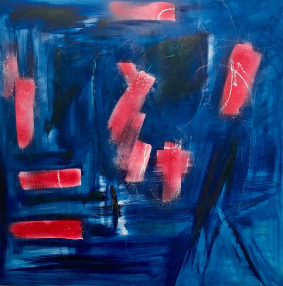 Chimie, 2019, technique mixte sur toile 90x90 cm
