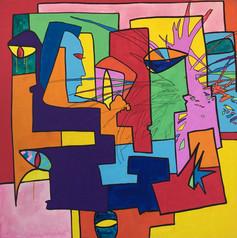 City, 2013, technique mixte sur toile 90x90 cm